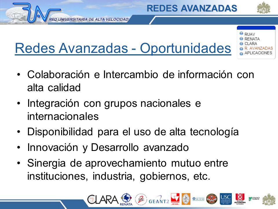 Redes Avanzadas - Oportunidades Colaboración e Intercambio de información con alta calidad Integración con grupos nacionales e internacionales Disponi