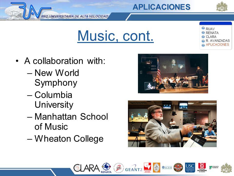 Music, cont. A collaboration with: –New World Symphony –Columbia University –Manhattan School of Music –Wheaton College APLICACIONES RUAV RENATA CLARA