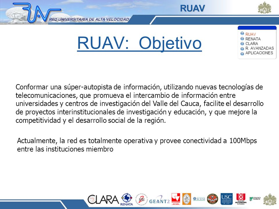 Digital Video Applications Up to broadcast quality videoconferencing Both live distribution and on- demand access to a variety of content HDTV-based digital cinema, network-based studio production and post- production APLICACIONES RUAV RENATA CLARA R.