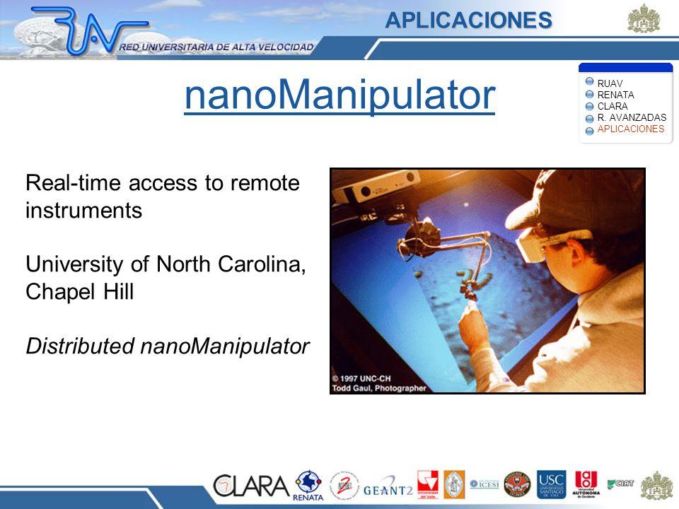 nanoManipulator Real-time access to remote instruments University of North Carolina, Chapel Hill Distributed nanoManipulator APLICACIONES RUAV RENATA