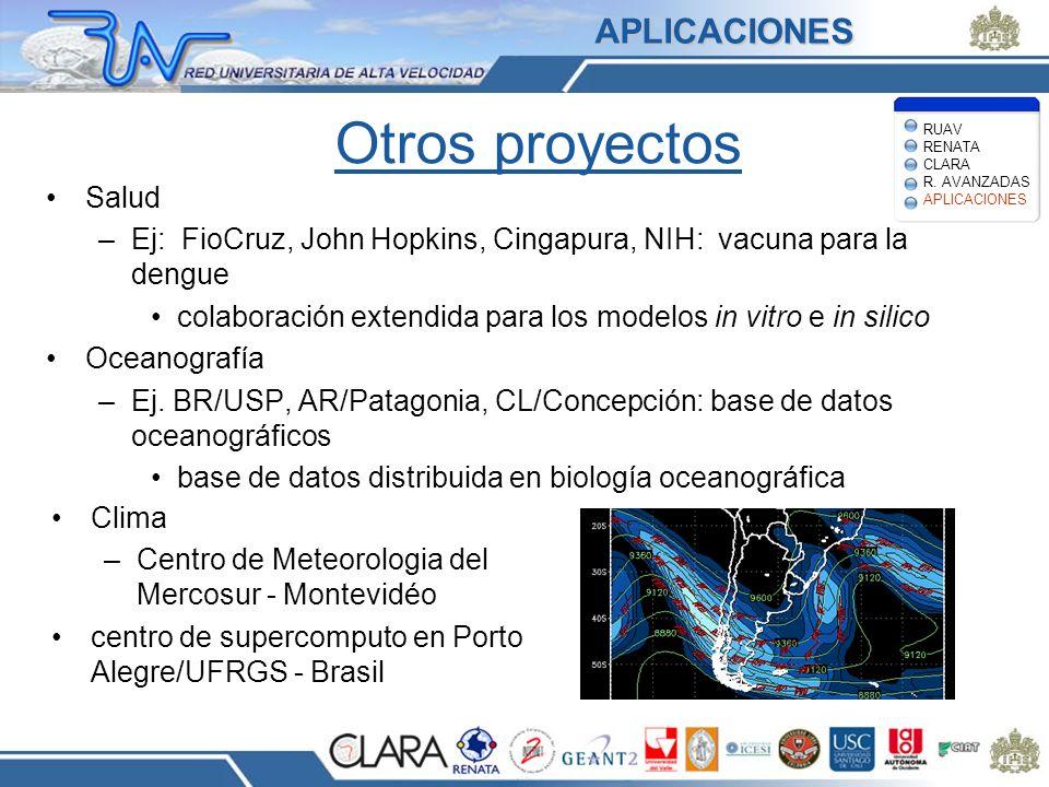 Otros proyectos Salud –Ej: FioCruz, John Hopkins, Cingapura, NIH: vacuna para la dengue colaboración extendida para los modelos in vitro e in silico O