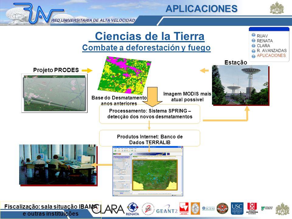 Ciencias de la Tierra Combate a deforestación y fuego Fiscalização: sala situação IBAMA e outras instituições Estação recepção Imagem MODIS mais atual