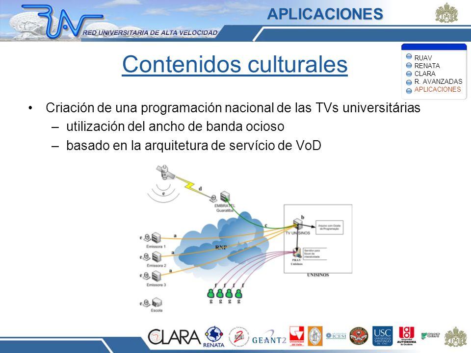 Contenidos culturales Criación de una programación nacional de las TVs universitárias –utilización del ancho de banda ocioso –basado en la arquitetura