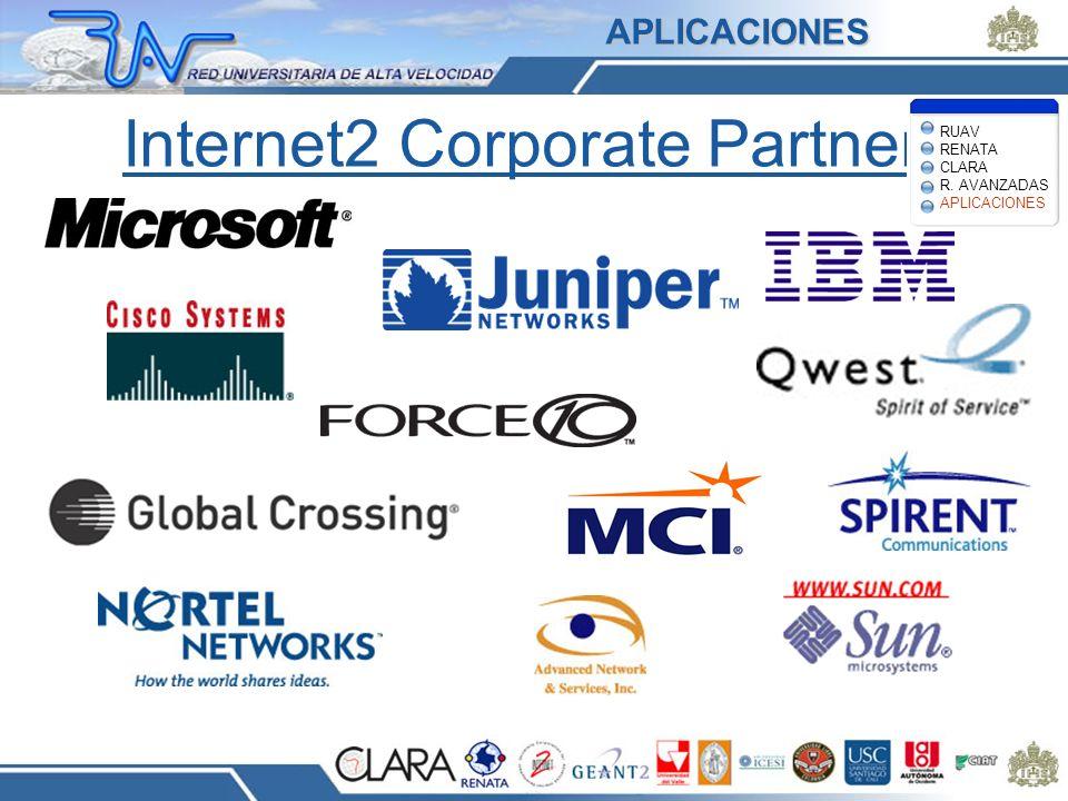 Internet2 Corporate Partners RUAV RENATA CLARA R. AVANZADAS APLICACIONES APLICACIONES