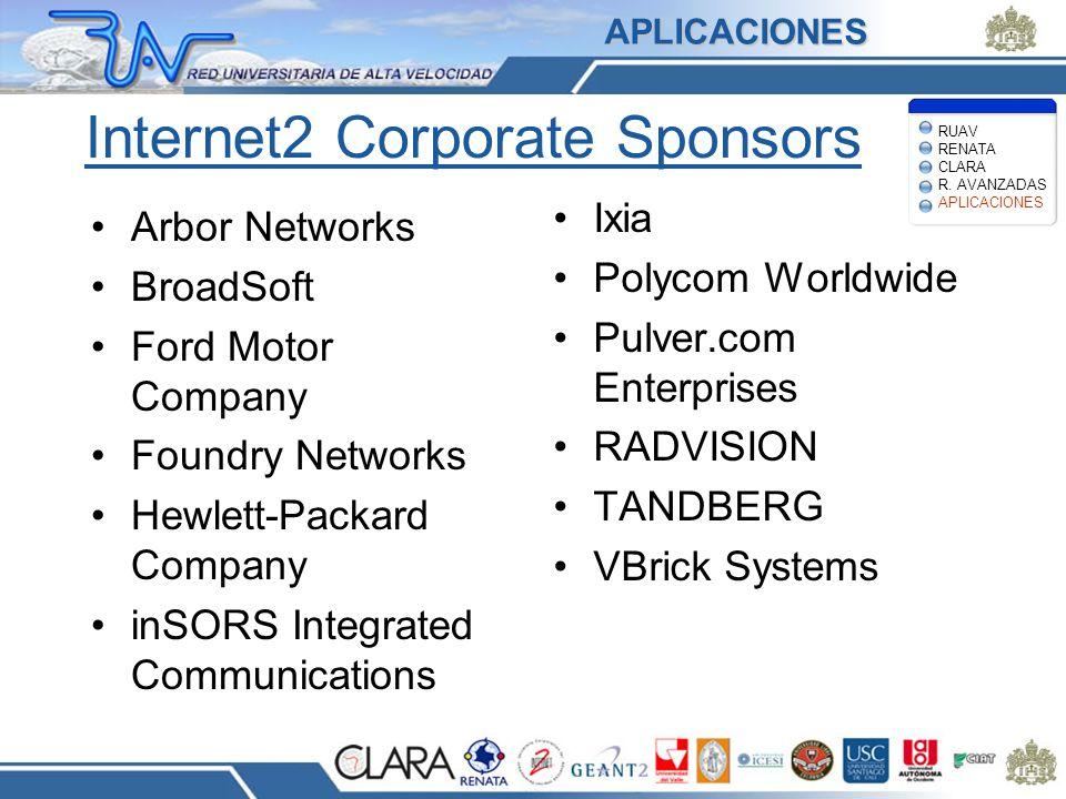 Internet2 Corporate Sponsors Arbor Networks BroadSoft Ford Motor Company Foundry Networks Hewlett-Packard Company inSORS Integrated Communications Ixia Polycom Worldwide Pulver.com Enterprises RADVISION TANDBERG VBrick Systems RUAV RENATA CLARA R.