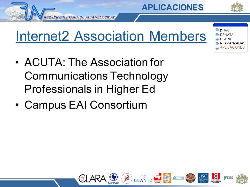 Internet2 Association Members ACUTA: The Association for Communications Technology Professionals in Higher Ed Campus EAI Consortium RUAV RENATA CLARA R.