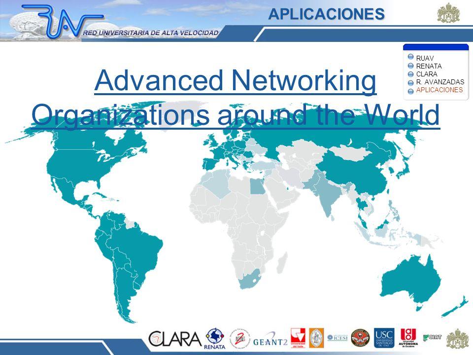 Advanced Networking Organizations around the World RUAV RENATA CLARA R. AVANZADAS APLICACIONES APLICACIONES