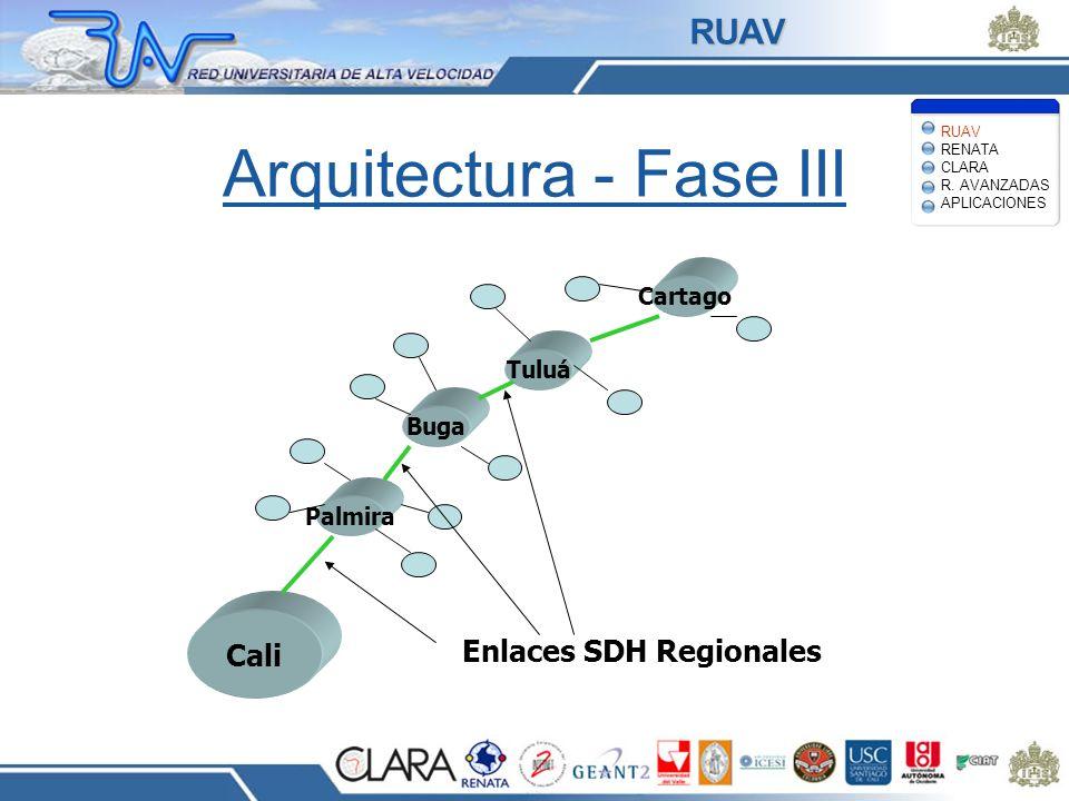 Arquitectura - Fase III Cali Palmira Buga Tuluá Cartago Enlaces SDH Regionales RUAV RENATA CLARA R. AVANZADAS APLICACIONES RUAV