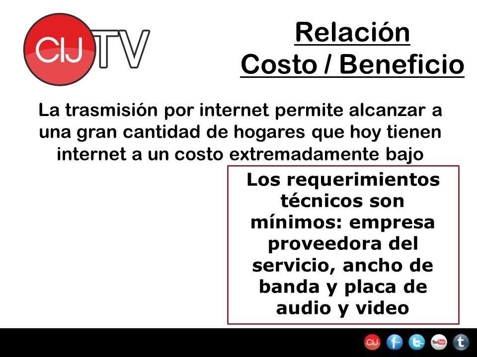 Relación Costo / Beneficio La trasmisión por internet permite alcanzar a una gran cantidad de hogares que hoy tienen internet a un costo extremadamente bajo Los requerimientos técnicos son mínimos: empresa proveedora del servicio, ancho de banda y placa de audio y video