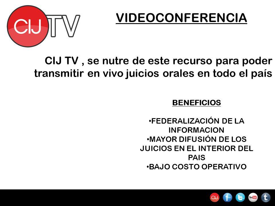 VIDEOCONFERENCIA CIJ TV, se nutre de este recurso para poder transmitir en vivo juicios orales en todo el país BENEFICIOS FEDERALIZACIÓN DE LA INFORMACION MAYOR DIFUSIÓN DE LOS JUICIOS EN EL INTERIOR DEL PAIS BAJO COSTO OPERATIVO