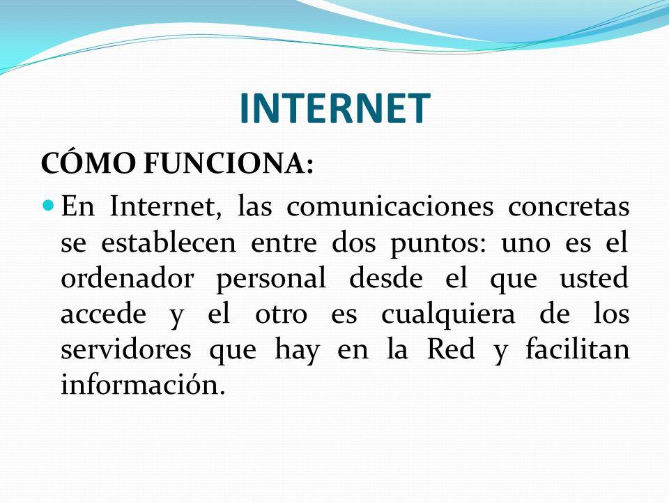 INTERNET CÓMO FUNCIONA: En Internet, las comunicaciones concretas se establecen entre dos puntos: uno es el ordenador personal desde el que usted acce