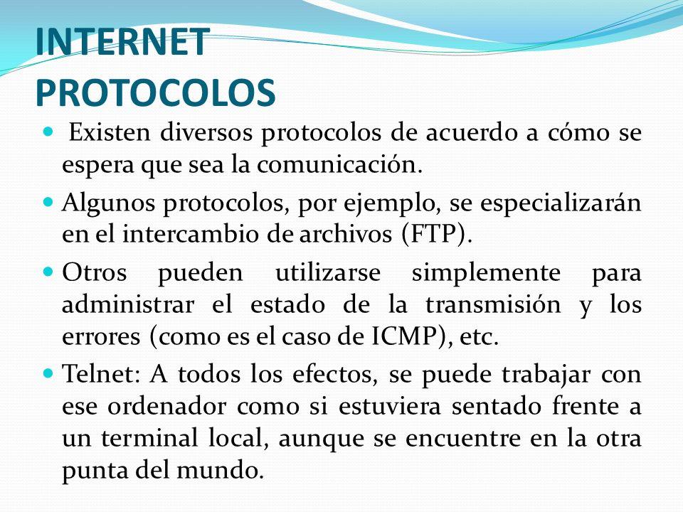 INTERNET PROTOCOLOS Existen diversos protocolos de acuerdo a cómo se espera que sea la comunicación. Algunos protocolos, por ejemplo, se especializará
