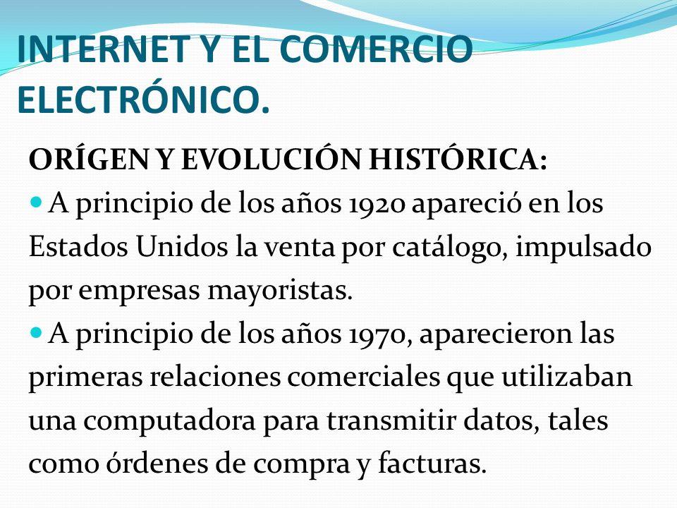 INTERNET Y EL COMERCIO ELECTRÓNICO. ORÍGEN Y EVOLUCIÓN HISTÓRICA: A principio de los años 1920 apareció en los Estados Unidos la venta por catálogo, i