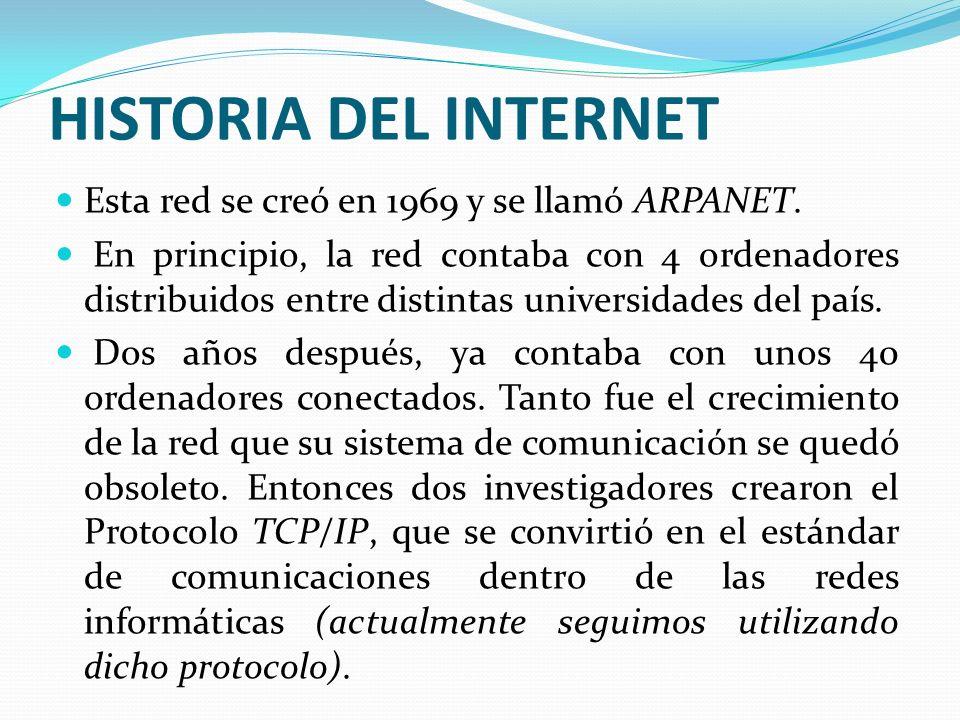 HISTORIA DEL INTERNET Esta red se creó en 1969 y se llamó ARPANET. En principio, la red contaba con 4 ordenadores distribuidos entre distintas univers