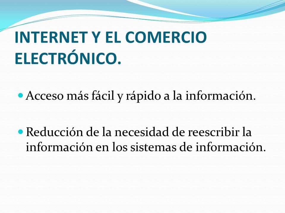 INTERNET Y EL COMERCIO ELECTRÓNICO. Acceso más fácil y rápido a la información. Reducción de la necesidad de reescribir la información en los sistemas