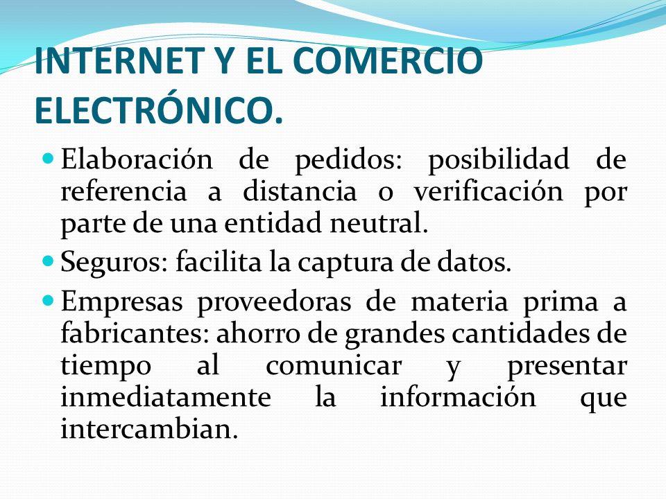 INTERNET Y EL COMERCIO ELECTRÓNICO. Elaboración de pedidos: posibilidad de referencia a distancia o verificación por parte de una entidad neutral. Seg
