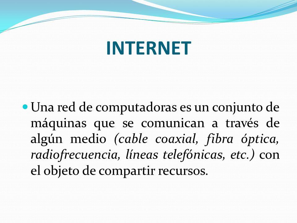 INTERNET Una red de computadoras es un conjunto de máquinas que se comunican a través de algún medio (cable coaxial, fibra óptica, radiofrecuencia, lí