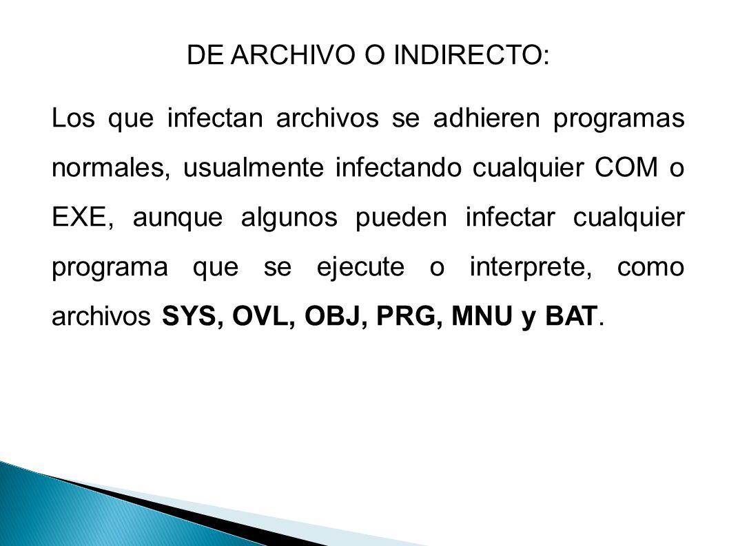 DE ARCHIVO O INDIRECTO: Los que infectan archivos se adhieren programas normales, usualmente infectando cualquier COM o EXE, aunque algunos pueden inf