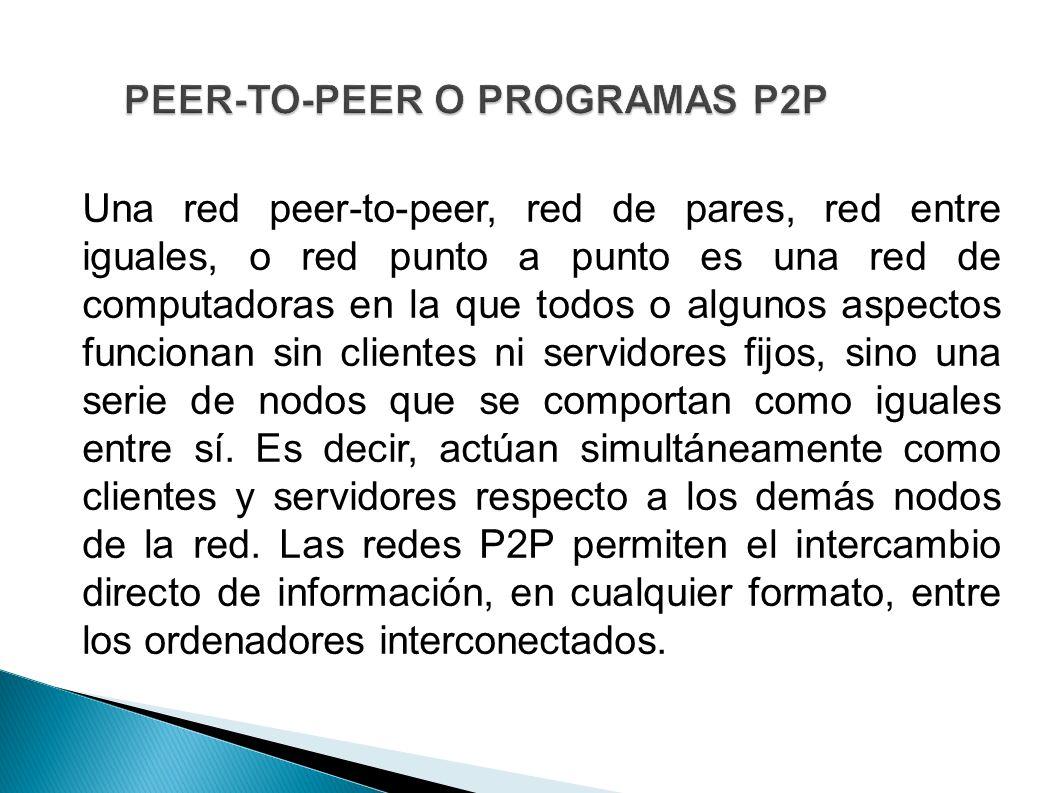 PEER-TO-PEER O PROGRAMAS P2P Una red peer-to-peer, red de pares, red entre iguales, o red punto a punto es una red de computadoras en la que todos o a