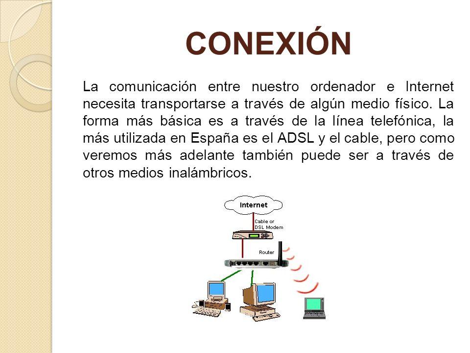 CONEXIÓN La comunicación entre nuestro ordenador e Internet necesita transportarse a través de algún medio físico. La forma más básica es a través de