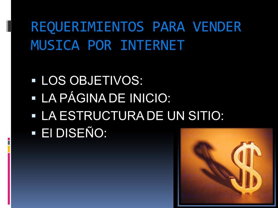 REQUERIMIENTOS PARA VENDER MUSICA POR INTERNET LOS OBJETIVOS: LA PÁGINA DE INICIO: LA ESTRUCTURA DE UN SITIO: El DISEÑO:
