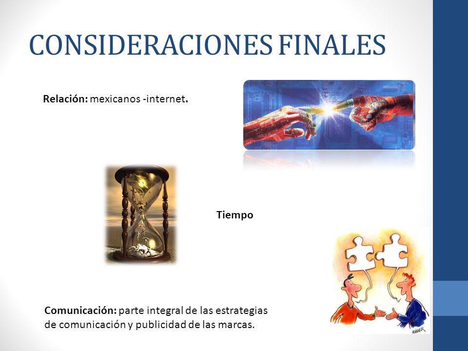CONSIDERACIONES FINALES Tiempo Relación: mexicanos -internet. Comunicación: parte integral de las estrategias de comunicación y publicidad de las marc