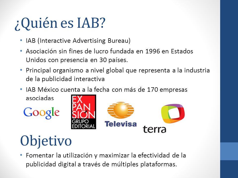 ¿Quién es IAB? IAB (Interactive Advertising Bureau) Asociación sin fines de lucro fundada en 1996 en Estados Unidos con presencia en 30 países. Princi