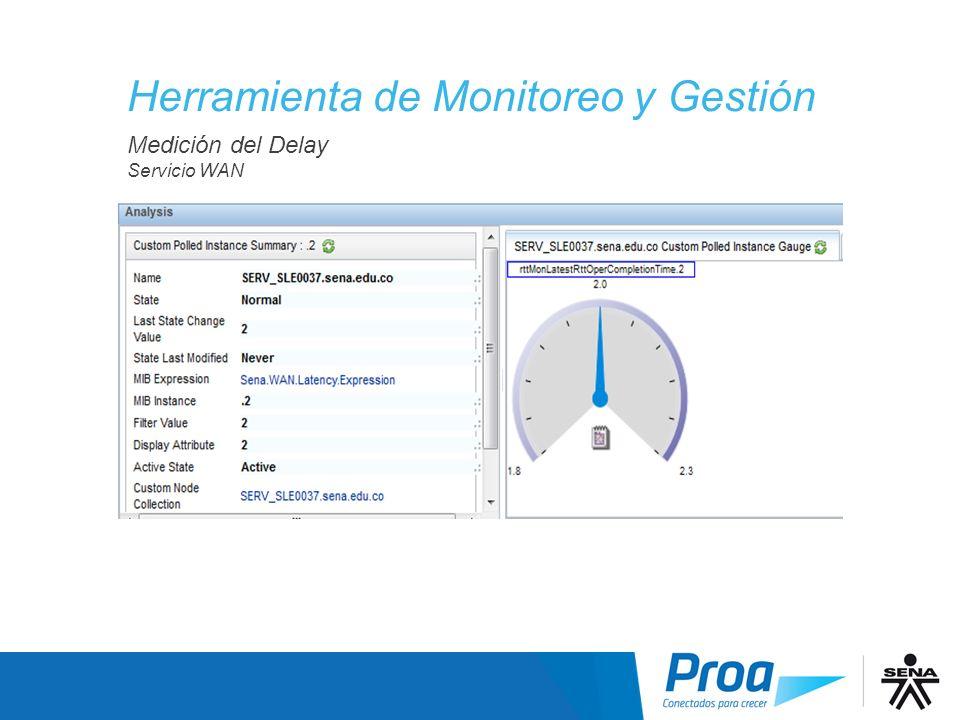 Medición del Delay Servicio WAN Medición del Delay Herramienta de Monitoreo y Gestión
