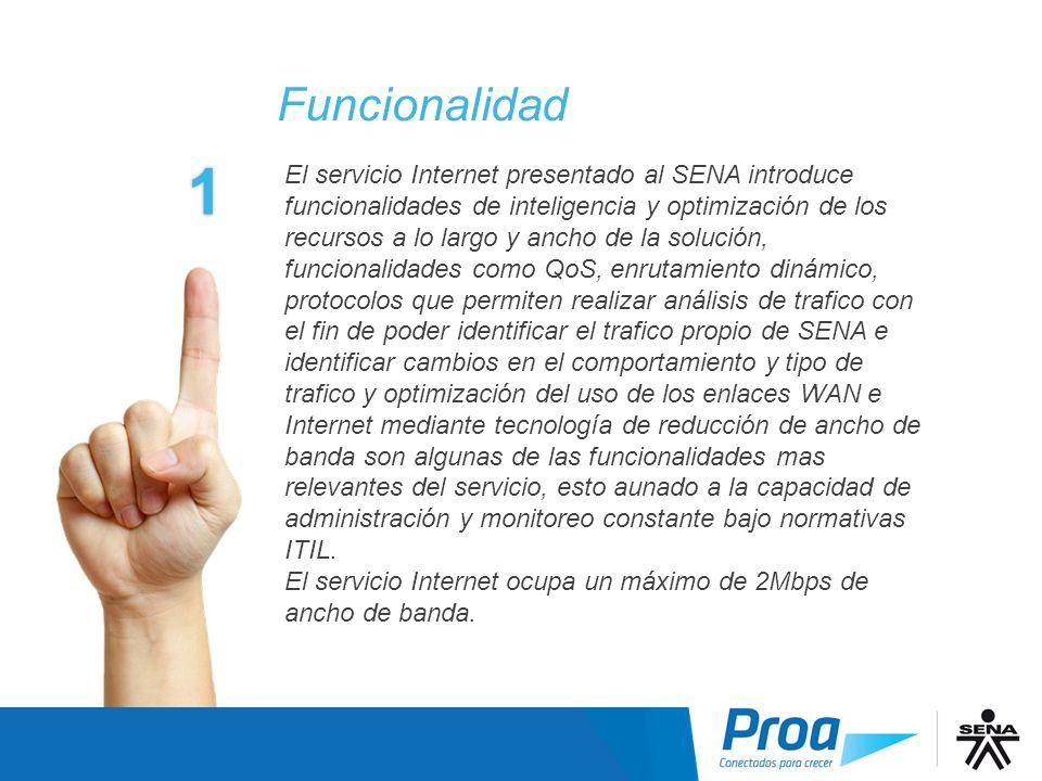 El servicio Internet presentado al SENA introduce funcionalidades de inteligencia y optimización de los recursos a lo largo y ancho de la solución, fu