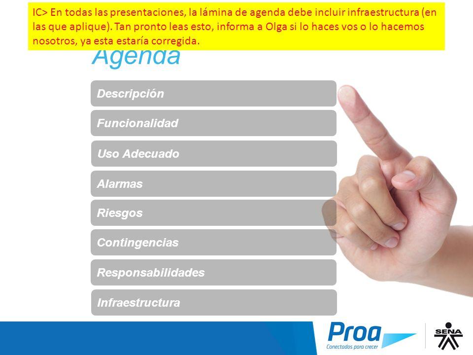 Agenda Descripción Funcionalidad Alarmas Riesgos Contingencias Responsabilidades Uso Adecuado Agenda Infraestructura IC> En todas las presentaciones,