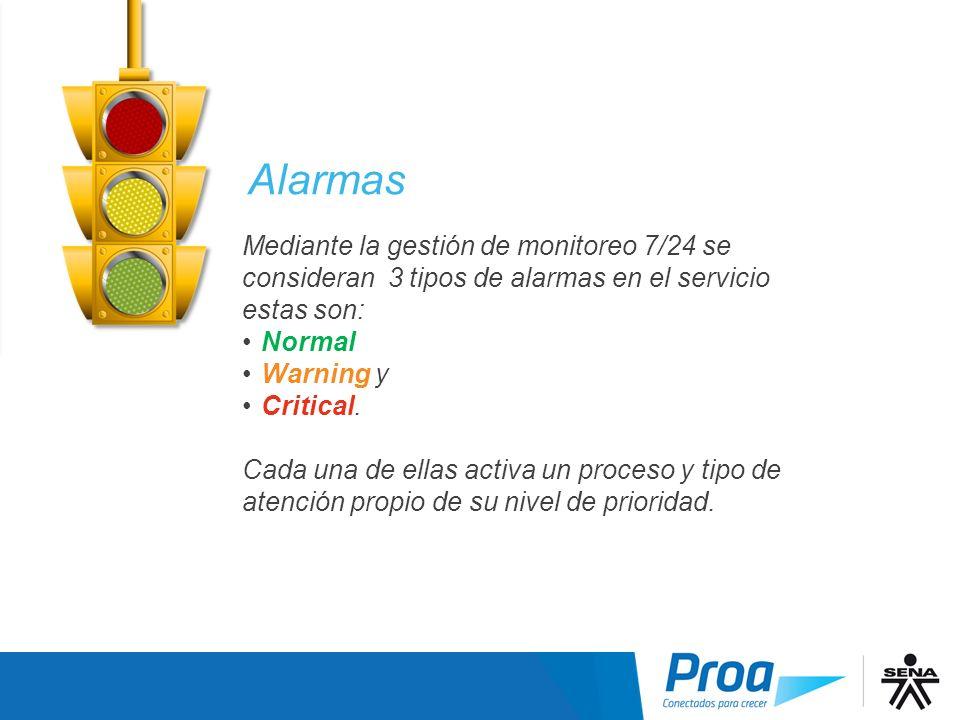 Mediante la gestión de monitoreo 7/24 se consideran 3 tipos de alarmas en el servicio estas son: Normal Warning y Critical. Cada una de ellas activa u