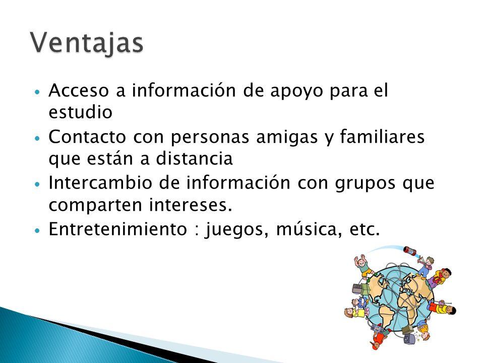 Acceso a información de apoyo para el estudio Contacto con personas amigas y familiares que están a distancia Intercambio de información con grupos qu