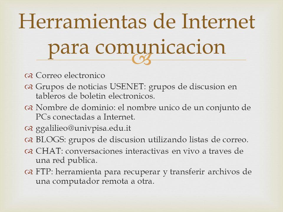 Correo electronico Grupos de noticias USENET: grupos de discusion en tableros de boletin electronicos.