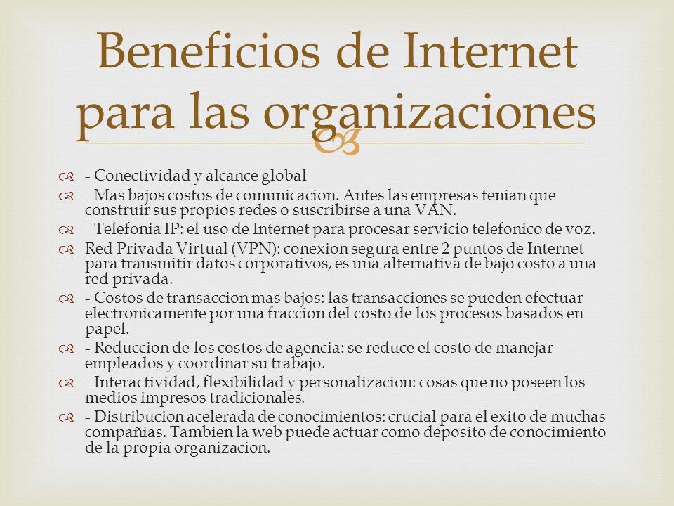 - Conectividad y alcance global - Mas bajos costos de comunicacion.