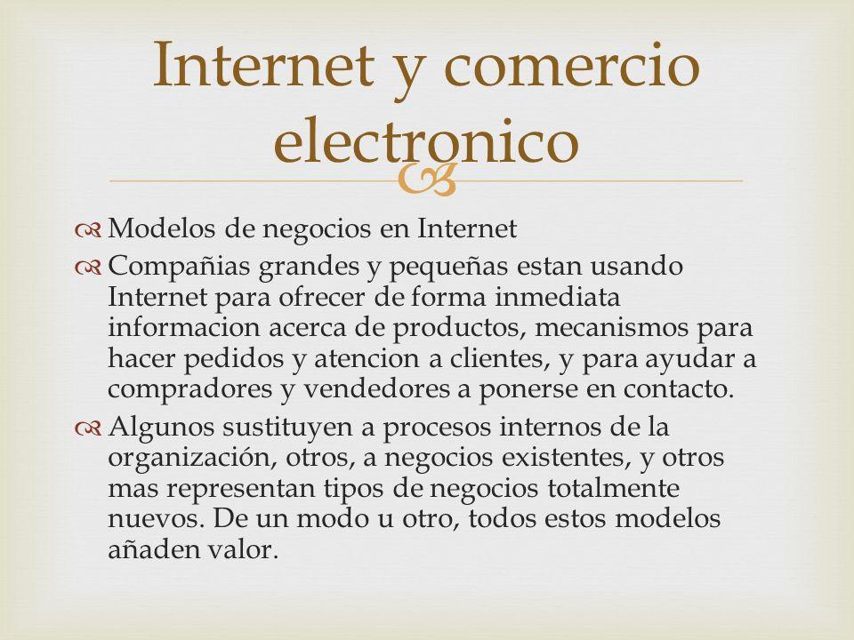 Modelos de negocios en Internet Compañias grandes y pequeñas estan usando Internet para ofrecer de forma inmediata informacion acerca de productos, mecanismos para hacer pedidos y atencion a clientes, y para ayudar a compradores y vendedores a ponerse en contacto.