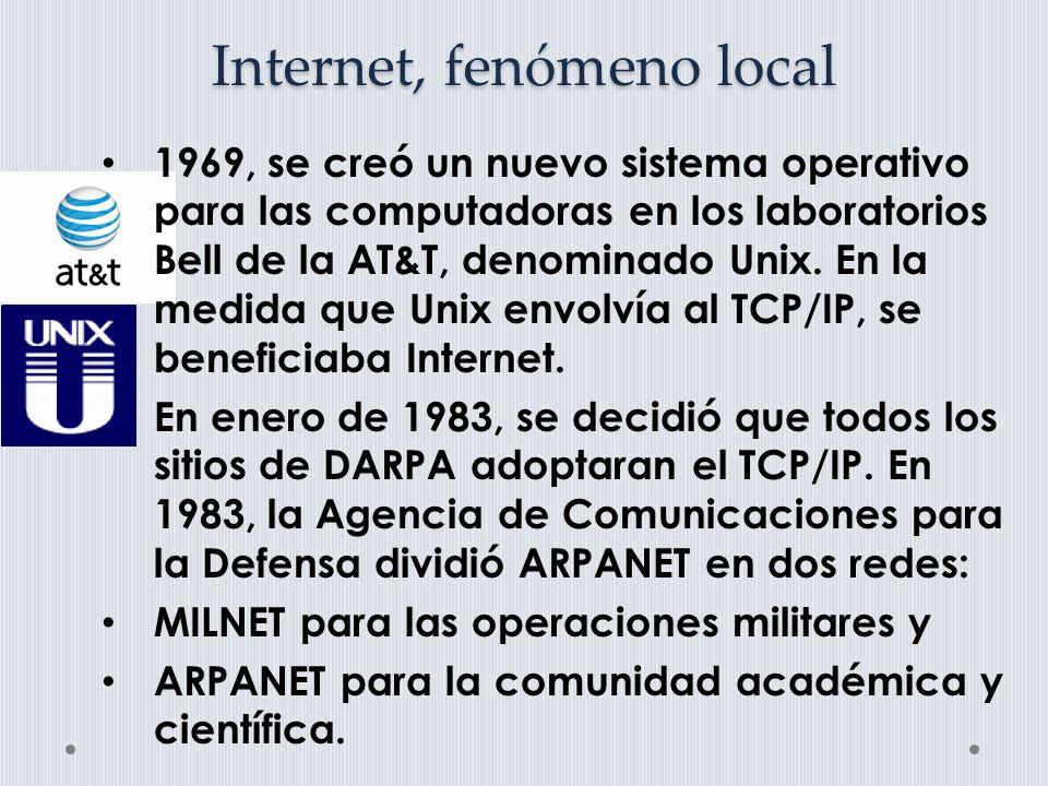 Internet, fenómeno local Durante las décadas de los 70 y los 80, hubo un crecimiento asombroso de los recursos de información que soportaban todos los campos de la investigación y la docencia.