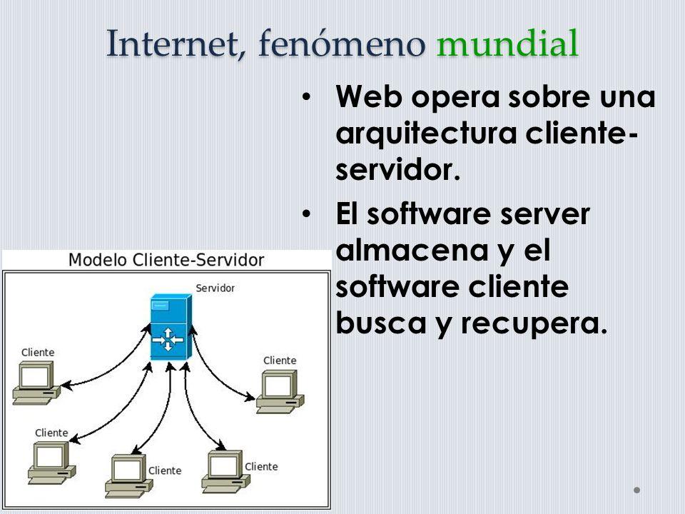 Internet, fenómeno mundial Un servidor web es un programa receptor de solicitudes y el encargado de enviarlas a quien los solicita; El cliente web, envía las solicitudes hechas por el usuario a la computadora que es el servidor y visualiza las recibidas en pantalla.