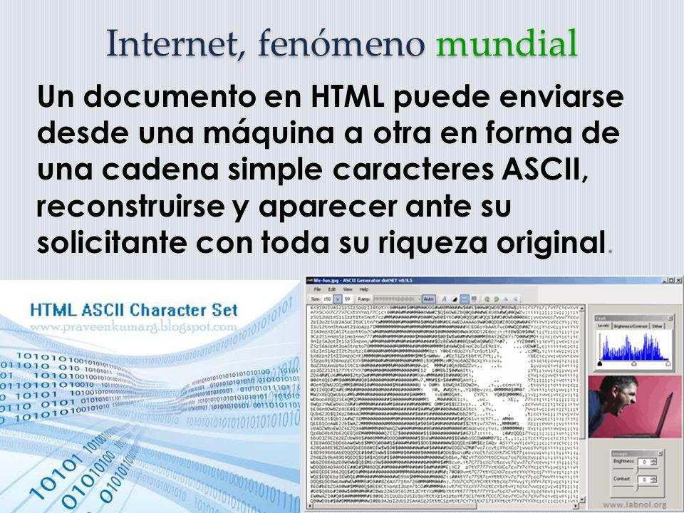 Internet, fenómeno mundial La creación de un sitio WWW requería de una gran cantidad de trabajo porque los documentos debían etiquetarse de acuerdo con las reglas de Hypertext Markup Languaje (HTML).