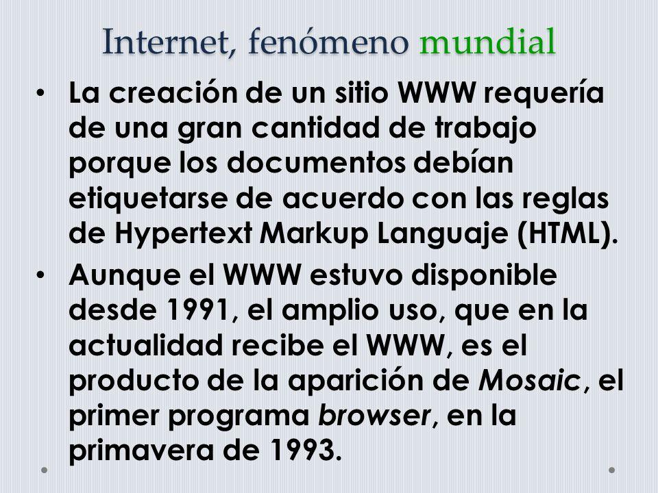 Internet, fenómeno mundial A este le siguió el Netscape.