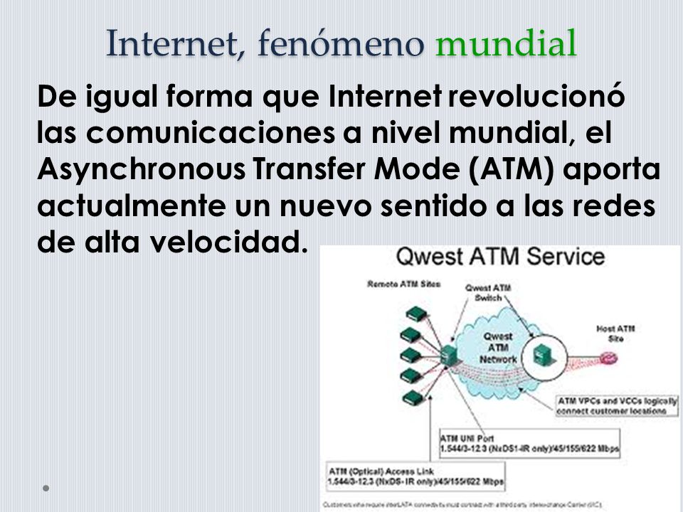Internet, fenómeno mundial De igual forma que Internet revolucionó las comunicaciones a nivel mundial, el Asynchronous Transfer Mode (ATM) aporta actualmente un nuevo sentido a las redes de alta velocidad.