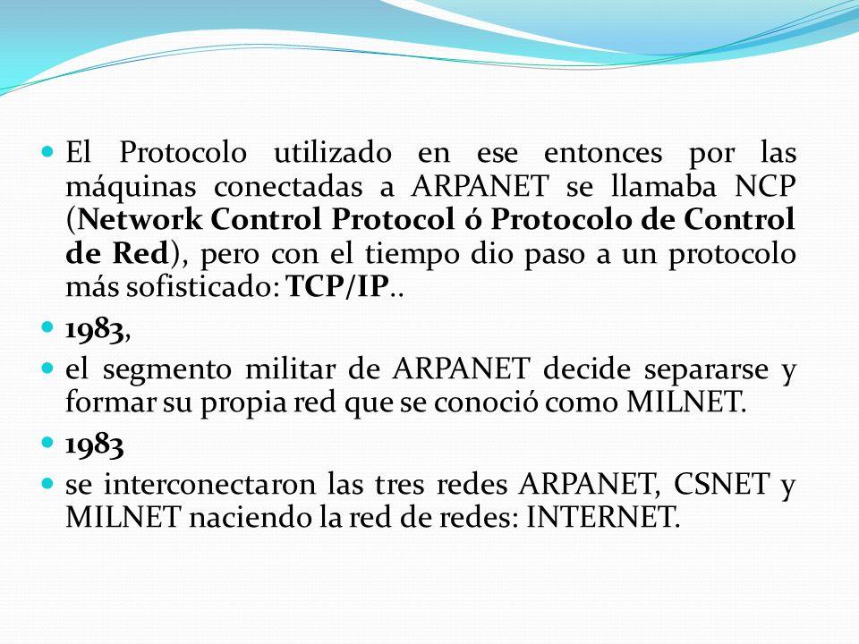 1986 1986 nació la red NSFnet (National Science Foundation) nació la red NSFnet (National Science Foundation) En 1989 En 1989 ARPANET se declara disuelta ARPANET se declara disuelta