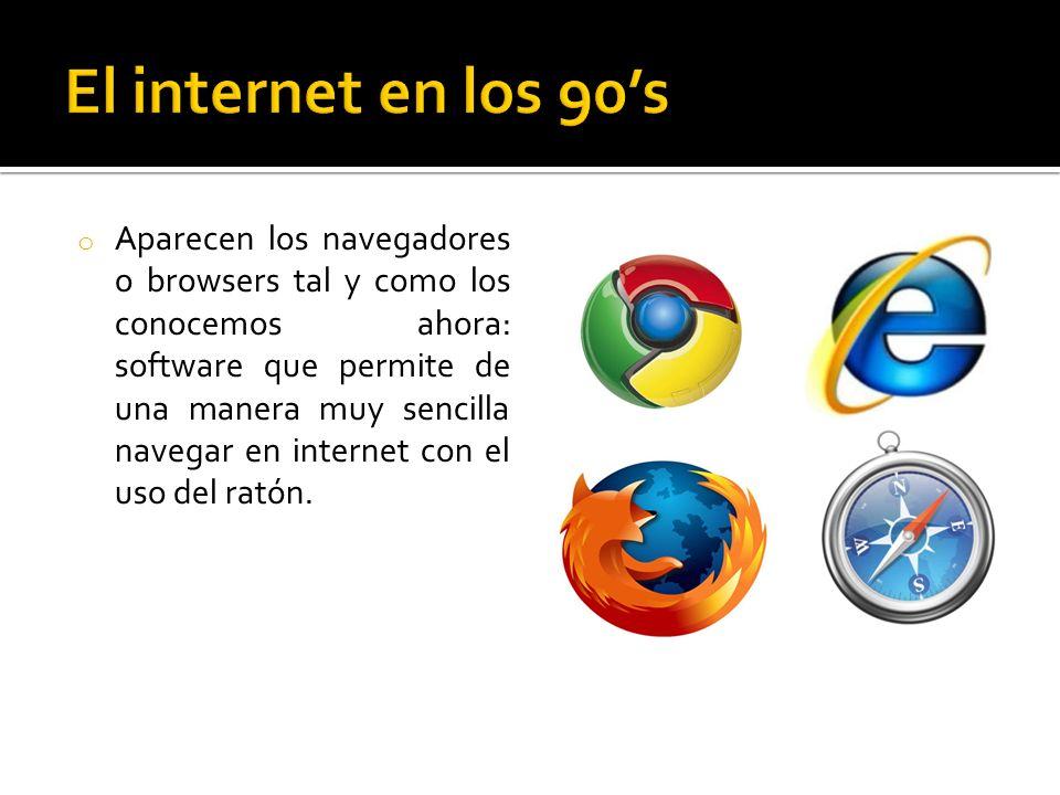 o Aparecen los navegadores o browsers tal y como los conocemos ahora: software que permite de una manera muy sencilla navegar en internet con el uso del ratón.