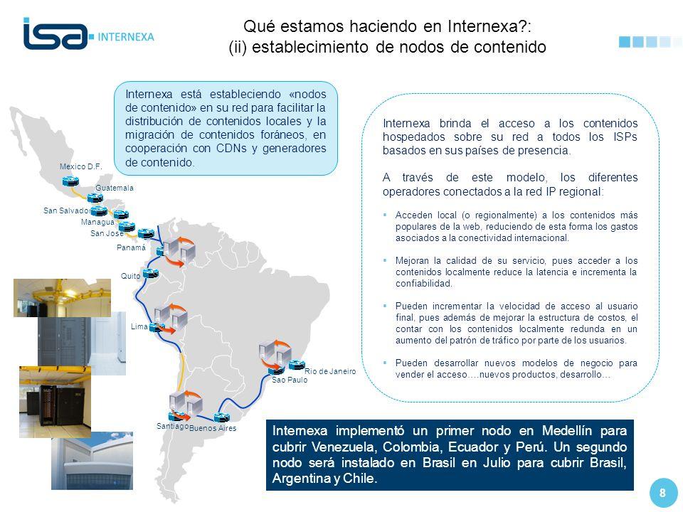 8 Qué estamos haciendo en Internexa?: (ii) establecimiento de nodos de contenido T1 Internet USA Rio de Janeiro Buenos Aires Sao Paulo Santiago Quito