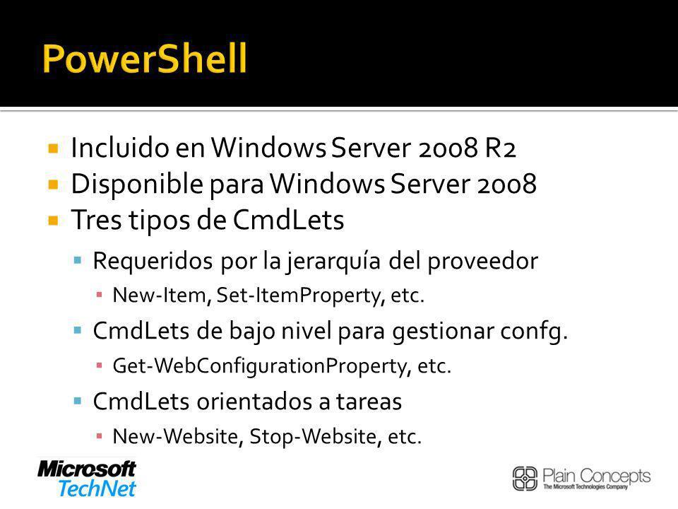 Incluido en Windows Server 2008 R2 Disponible para Windows Server 2008 Tres tipos de CmdLets Requeridos por la jerarquía del proveedor New-Item, Set-ItemProperty, etc.