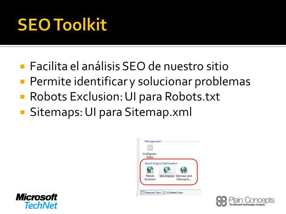 Facilita el análisis SEO de nuestro sitio Permite identificar y solucionar problemas Robots Exclusion: UI para Robots.txt Sitemaps: UI para Sitemap.xml