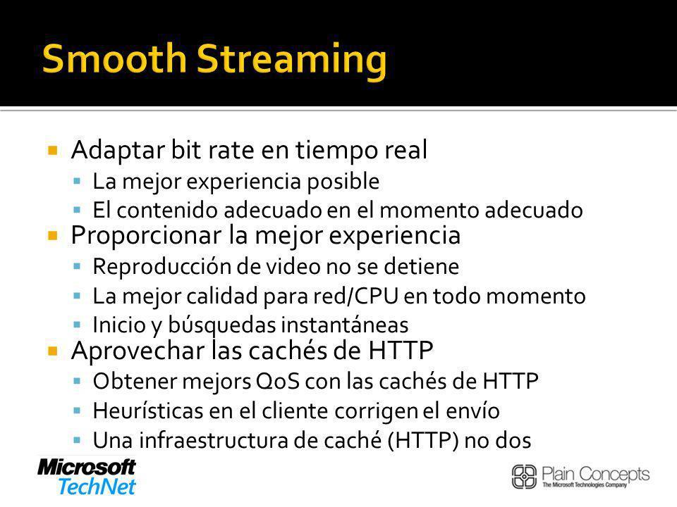Adaptar bit rate en tiempo real La mejor experiencia posible El contenido adecuado en el momento adecuado Proporcionar la mejor experiencia Reproducción de video no se detiene La mejor calidad para red/CPU en todo momento Inicio y búsquedas instantáneas Aprovechar las cachés de HTTP Obtener mejors QoS con las cachés de HTTP Heurísticas en el cliente corrigen el envío Una infraestructura de caché (HTTP) no dos