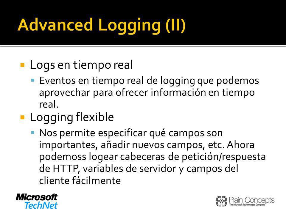 Logs en tiempo real Eventos en tiempo real de logging que podemos aprovechar para ofrecer información en tiempo real.