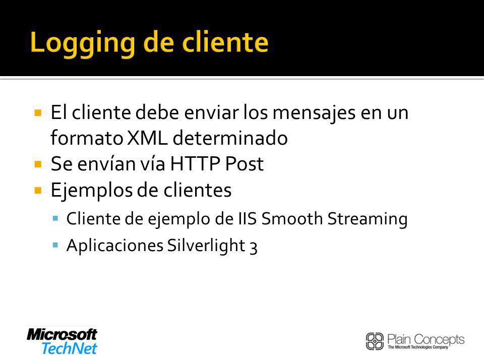 El cliente debe enviar los mensajes en un formato XML determinado Se envían vía HTTP Post Ejemplos de clientes Cliente de ejemplo de IIS Smooth Streaming Aplicaciones Silverlight 3
