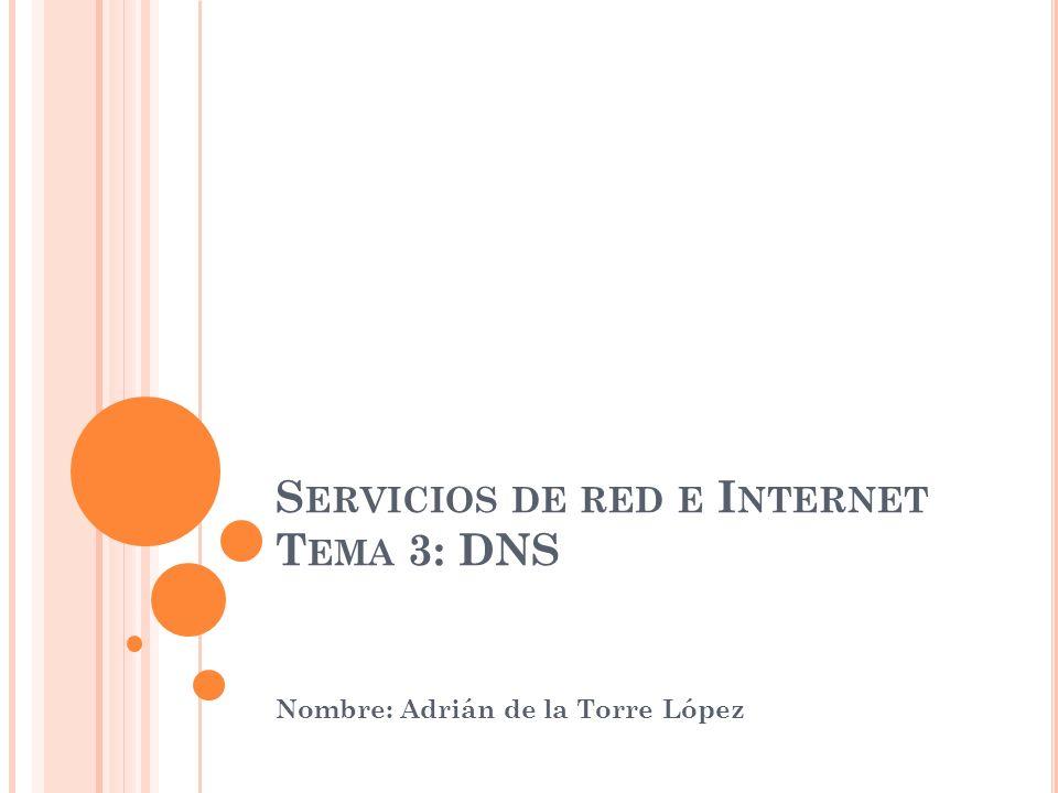 S ERVICIOS DE RED E I NTERNET T EMA 3: DNS Nombre: Adrián de la Torre López