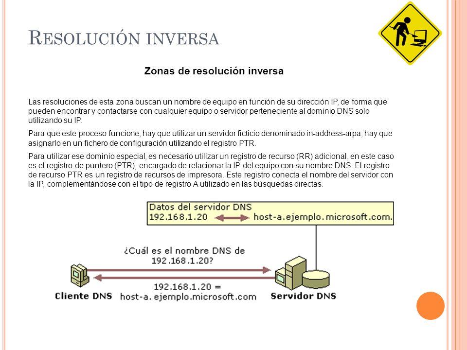 R ESOLUCIÓN INVERSA Zonas de resolución inversa Las resoluciones de esta zona buscan un nombre de equipo en función de su dirección IP, de forma que pueden encontrar y contactarse con cualquier equipo o servidor perteneciente al dominio DNS solo utilizando su IP.